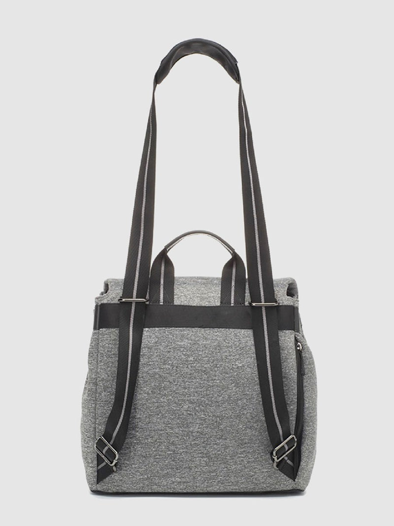 storksak st james scuba grey marl, convertible changing bag, back view with straps as shoulder bag