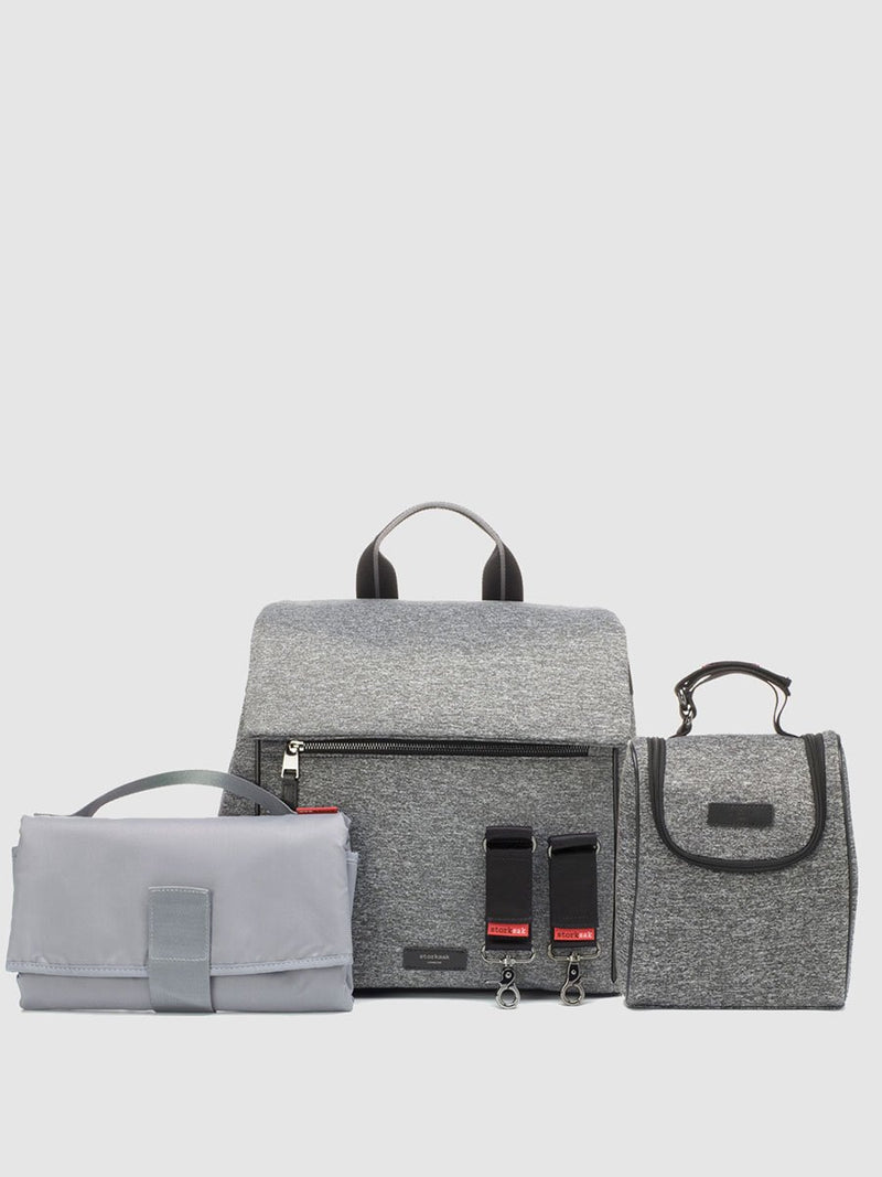 storksak st james scuba grey marl, convertible changing bag, comes with changing mat, stroller clips & insulated bottle bag