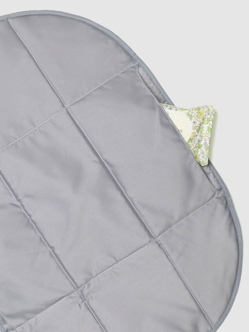 storksak stevie quilt navy, changing mat with pockets for nappies and wipes