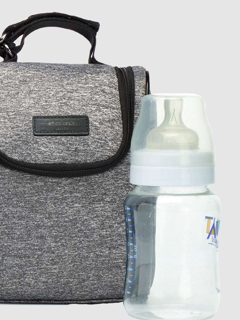 storksak stevie luxe scuba grey marl, changing bag, matching insulated bottle bag