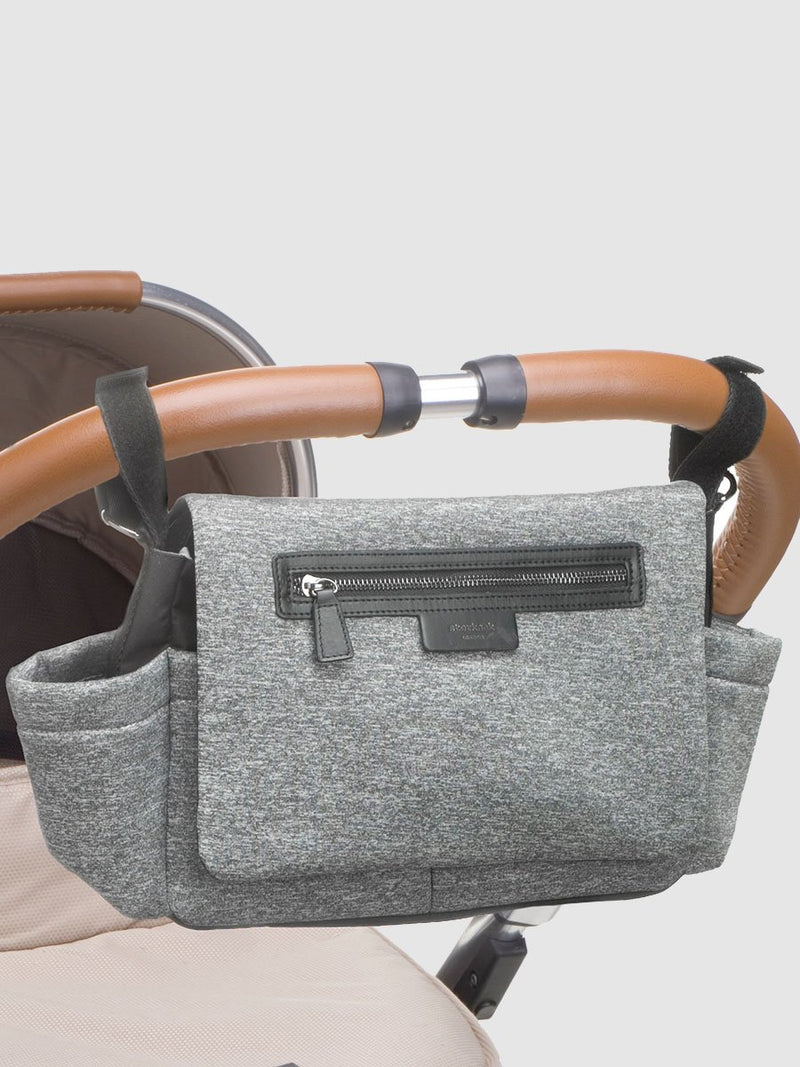 storksak stroller organiser luxe scuba grey marl, attached to pram