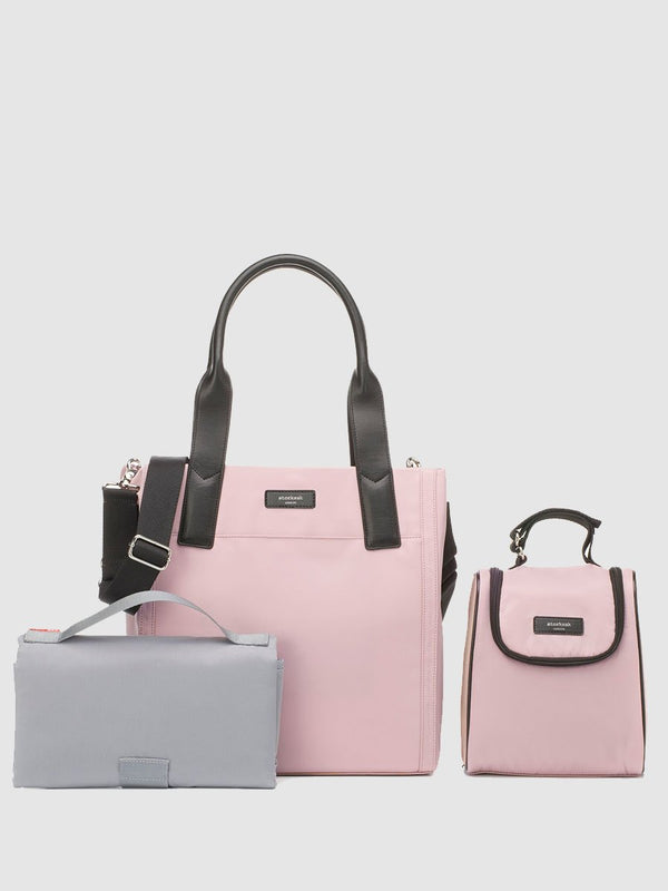 Storksak Eliza Rose Changing Bag, tote shape, comes with changing mat, insulated bottle bag and stroller straps