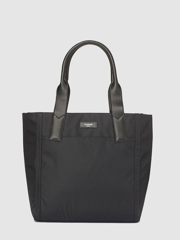 Storksak Eliza Black Changing Bag, tote shape, front view