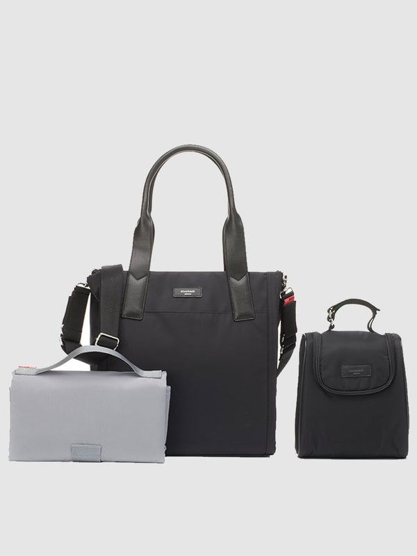 Storksak Eliza Black Changing Bag, tote shape, come with changing mat, insulated bottle bag and stroller straps