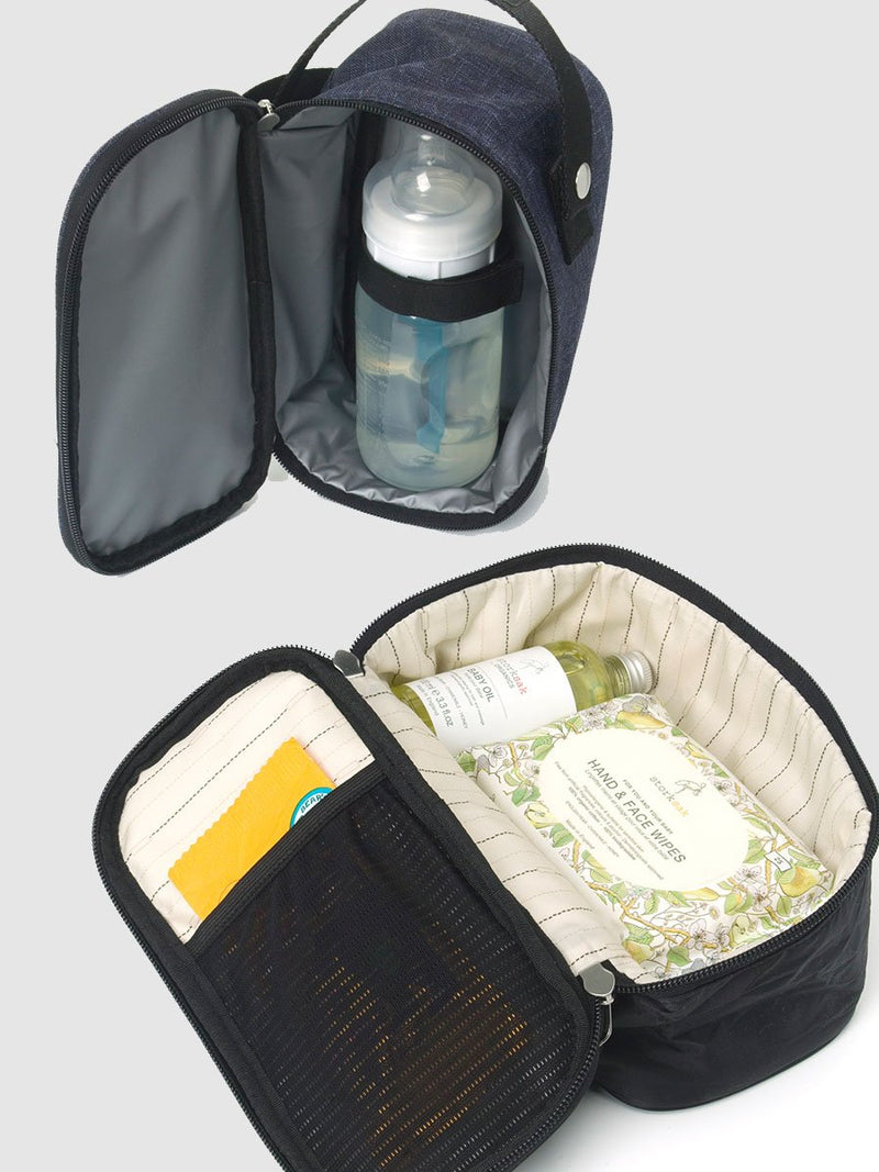 storksak travel eco backpack navy, rucksack changing bag, insulated bottler holder and extra storage pouch