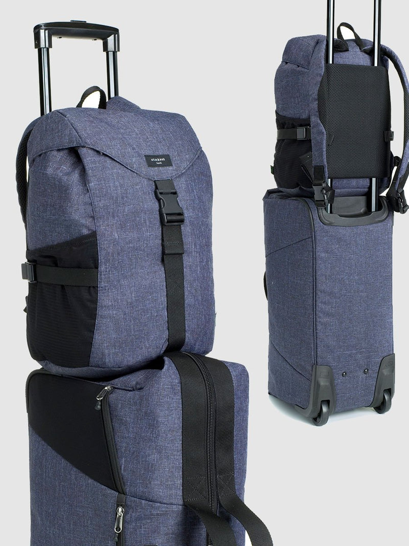 storksak travel eco backpack navy, rucksack changing bag, attached to handle of cabin bag