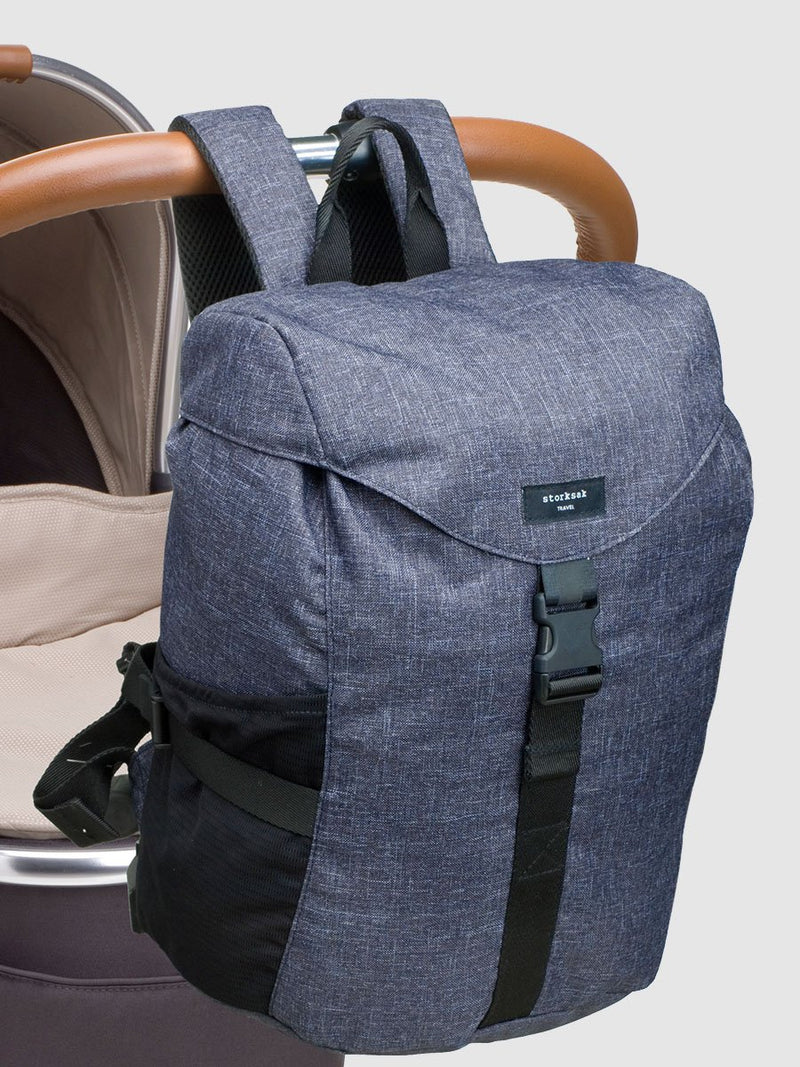 storksak travel eco backpack navy, rucksack changing bag, attached to pram with backpack strap clips