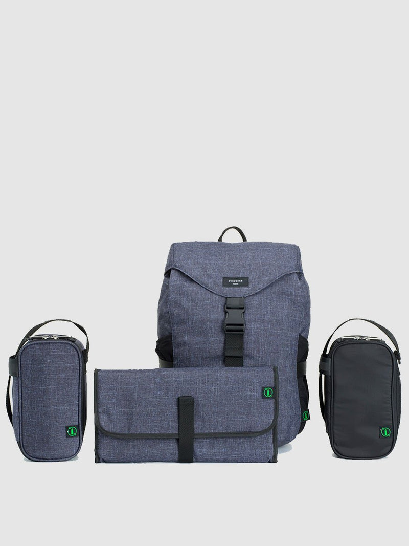 storksak travel eco backpack navy, rucksack changing bag, comes with changing mat, insulated bottle holder and storage pouch