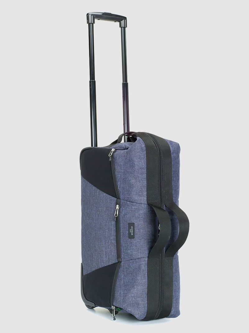 storksak travel eco cabin carry-on navy, hospital bag with wheels, upright with handle pulled up