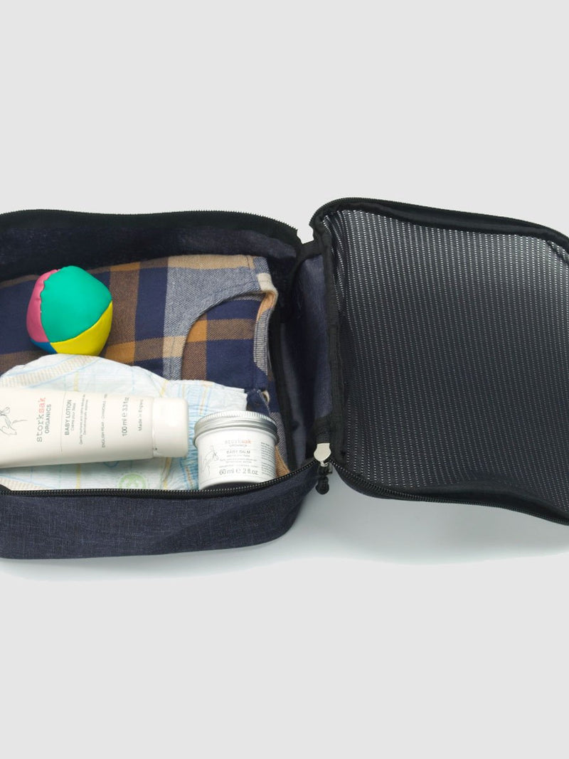 storksak travel eco cabin carry-on navy, hospital bag with wheels, packing block with child's items inside