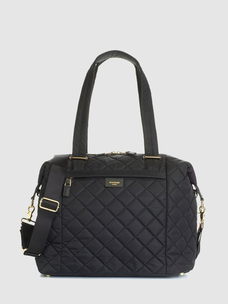 storksak stevie quilt black, changing bag, front view
