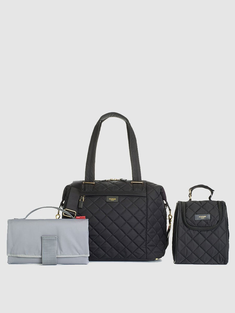 storksak stevie quilt black, changing bag, comes with changing mat, stroller straps & insulated bottle bag