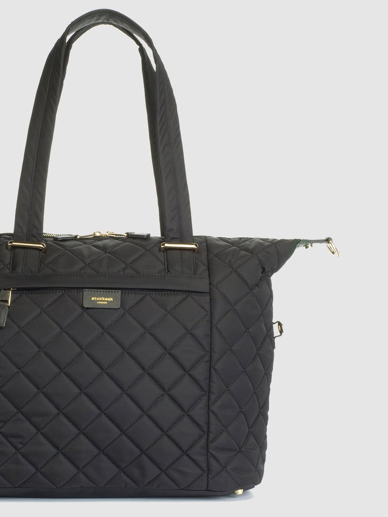 storksak stevie quilt black, changing bag, side tabs up to make tote shape