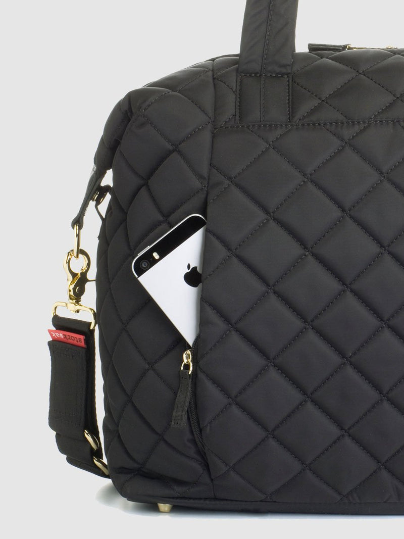 storksak stevie quilt black, changing bag, back zipped phone pocket
