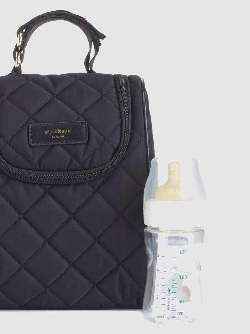 storksak stevie quilt black, changing bag, matching insulated bottle bag