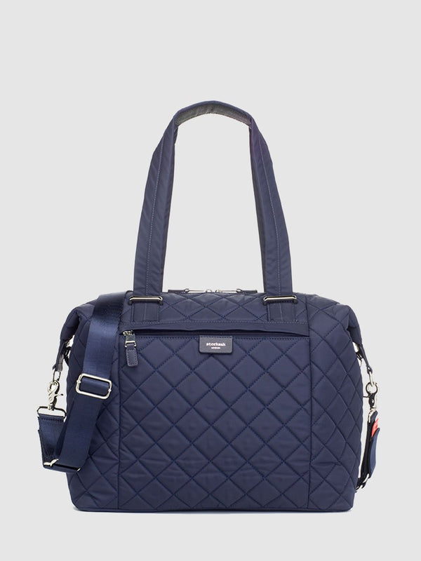 storksak stevie quilt navy, changing bag, front view