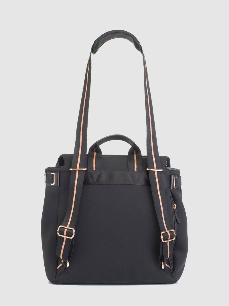 storksak st james scuba black, convertible changing bag, back view showing straps as shoulder bag