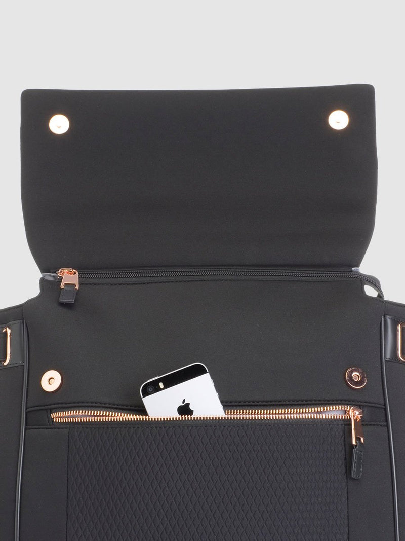 storksak st james scuba black, convertible changing bag, flap up showing zipped phone pocket