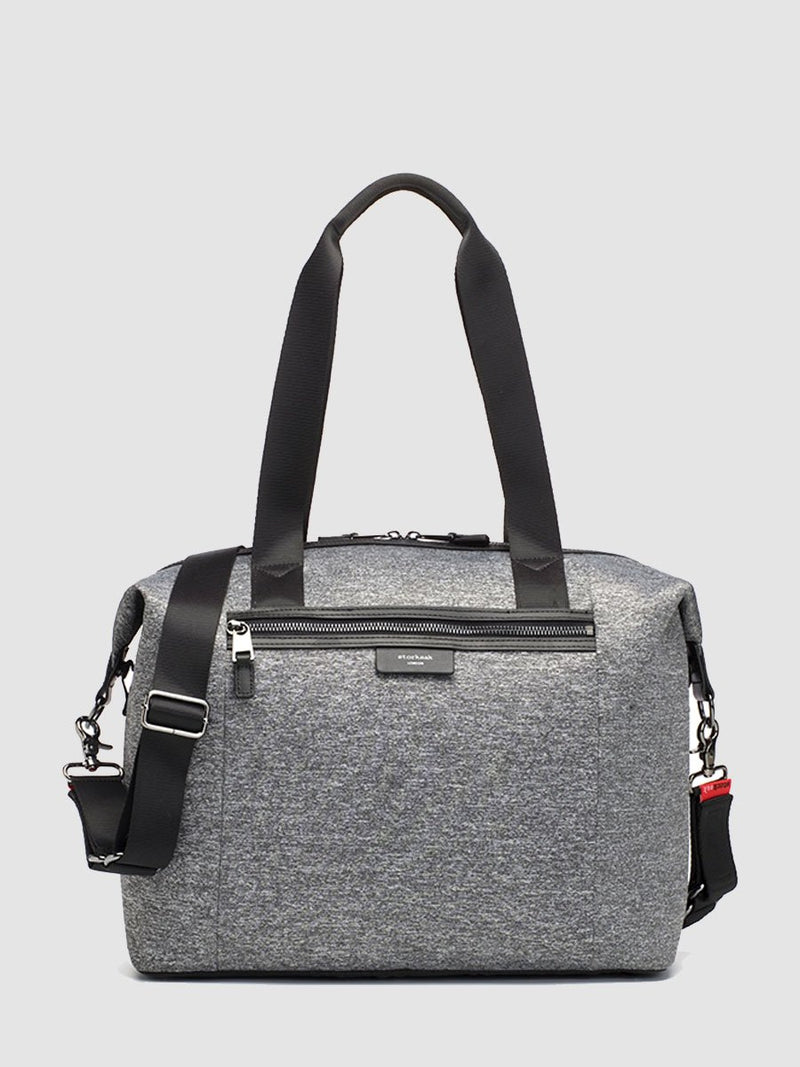 storksak stevie luxe scuba grey marl, changing bag, front view