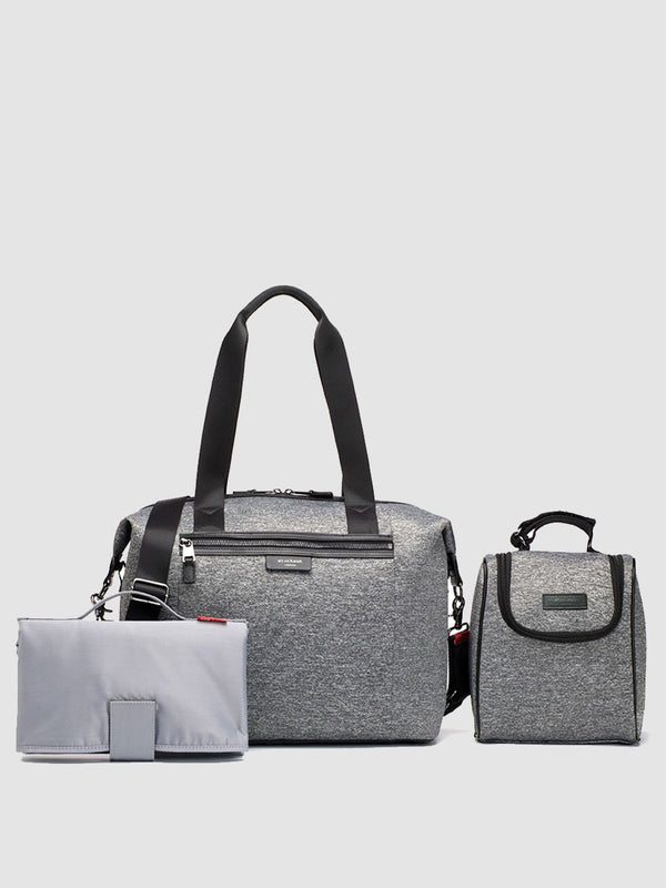 storksak stevie luxe scuba grey marl, changing bag, comes with changing mat, stroller straps & insulated bottle holder