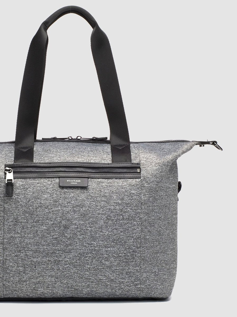 storksak stevie luxe scuba grey marl, changing bag, side tabs up to create tote shape