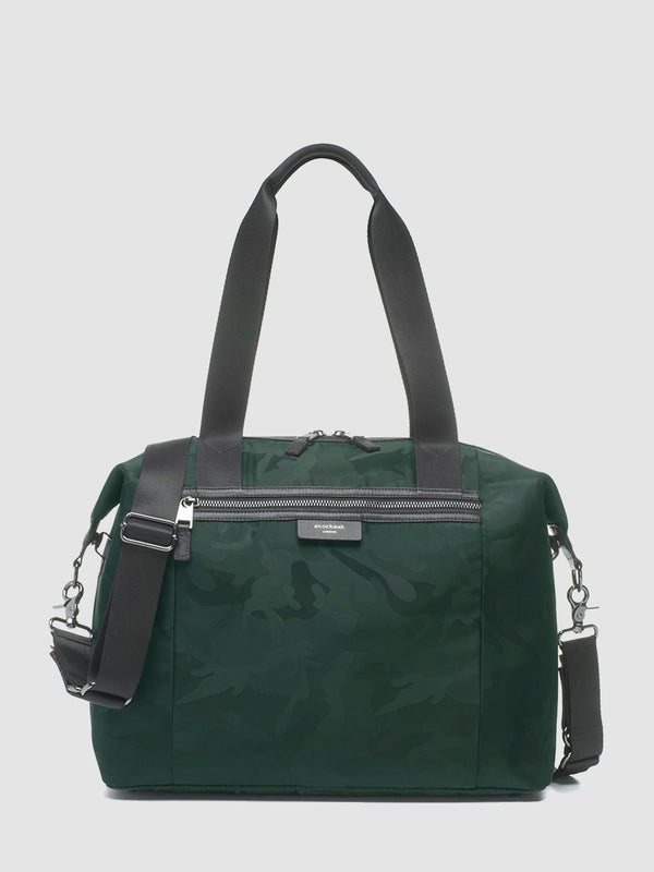 storksak stevie luxe camo emerald, changing bag, front view