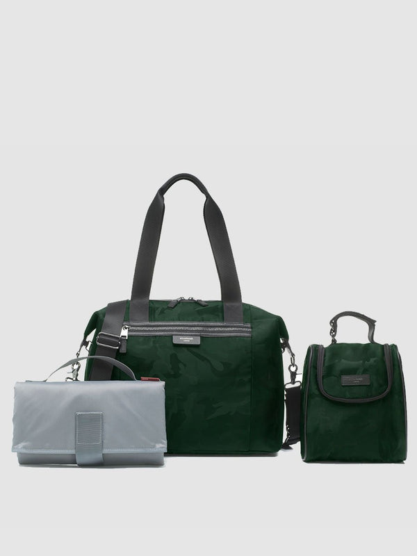 storksak stevie luxe camo emerald, changing bag, comes with changing mat, stroller straps and insulated bottle bag