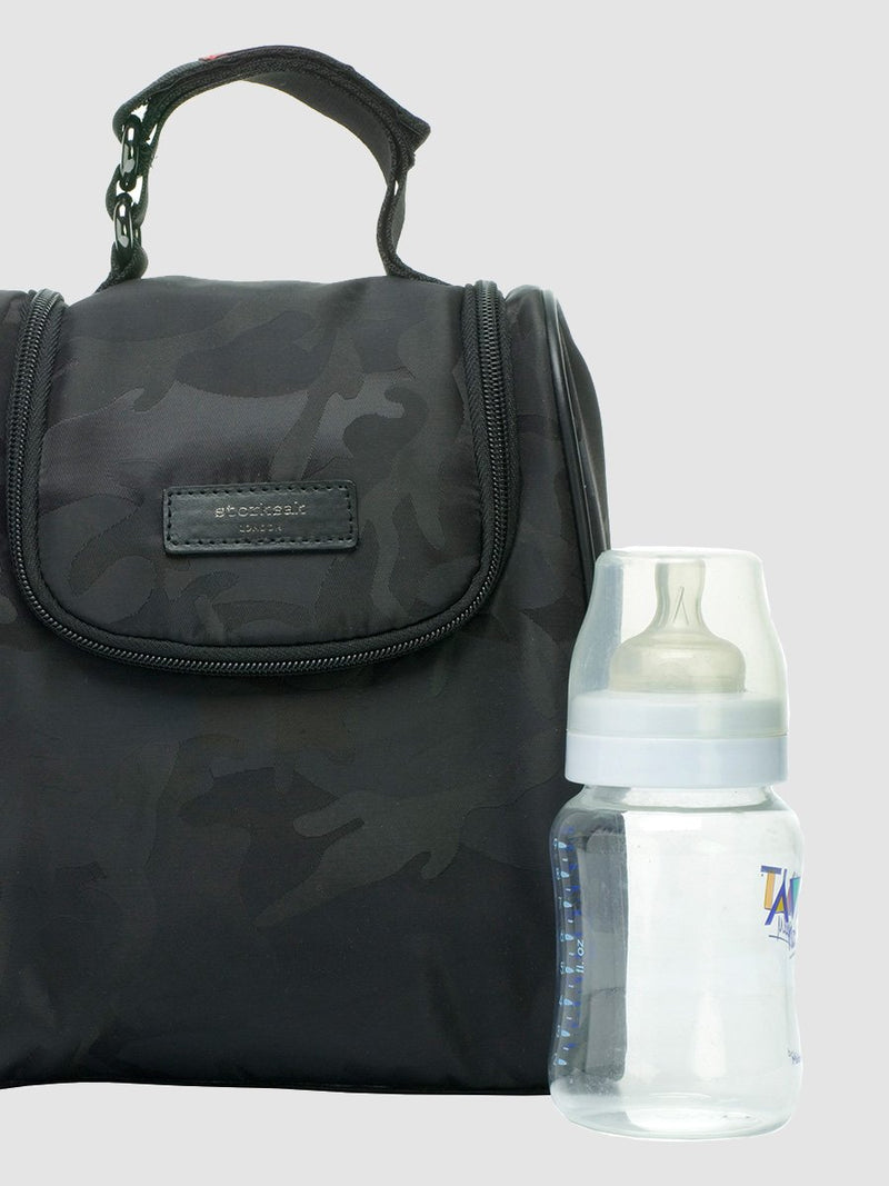 storksak stevie luxe camo black, changing bag, matching insulated bottle bag