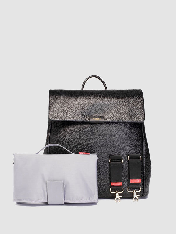 storksak st james leather black, luxury convertible changing bag, come with changing mat and stroller clips