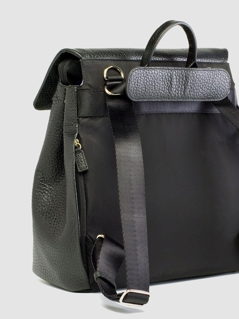 storksak st james leather black, luxury convertible changing bag, back view showing straps as backpack