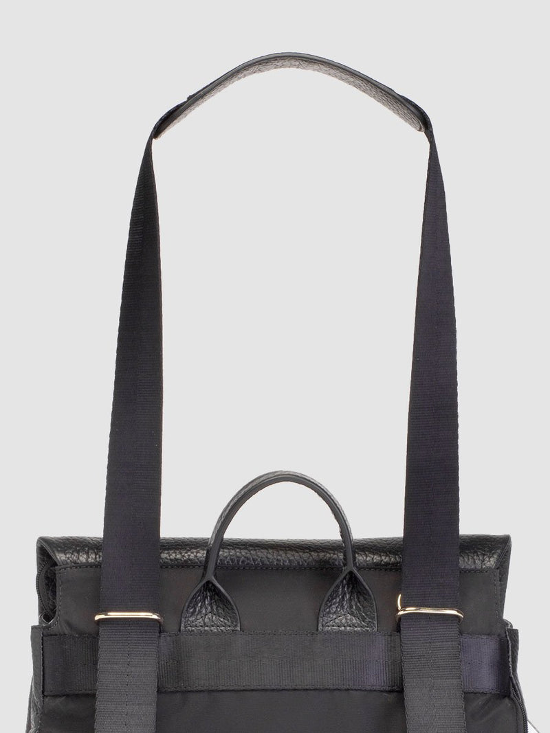 storksak st james leather black, luxury convertible changing bag, back view with straps as shoulder bag