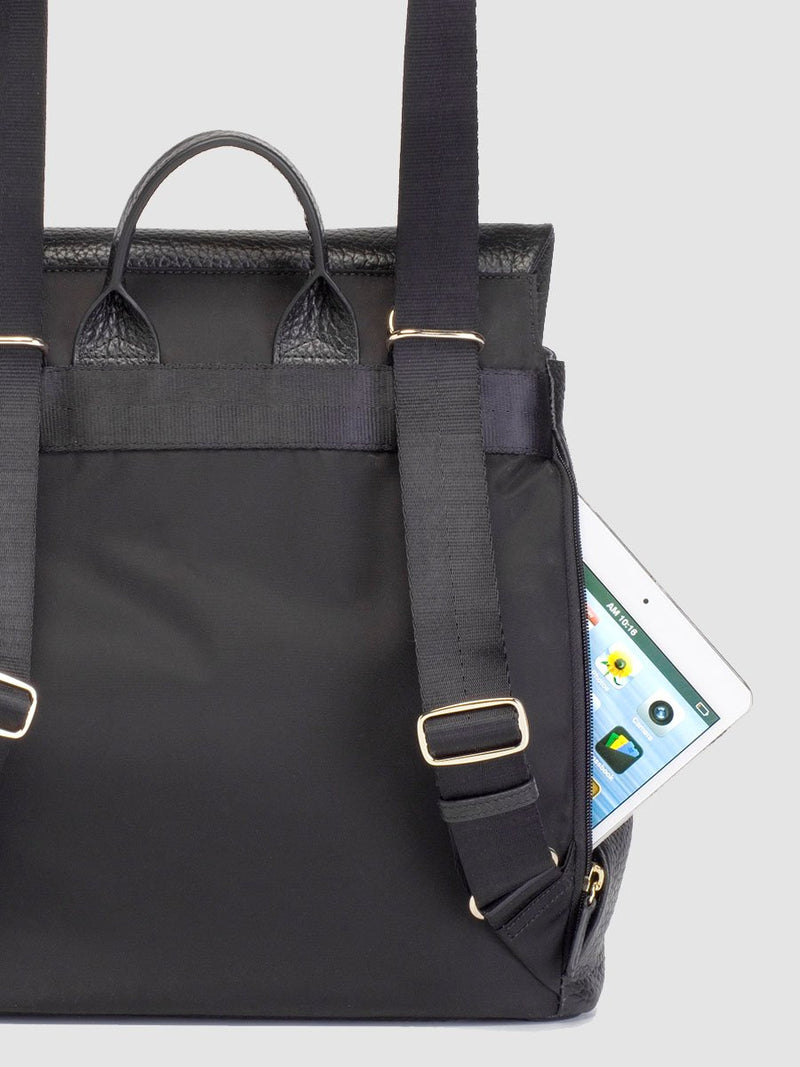 storksak st james leather black, luxury convertible changing bag, back view showing zipped back pocket for ipad