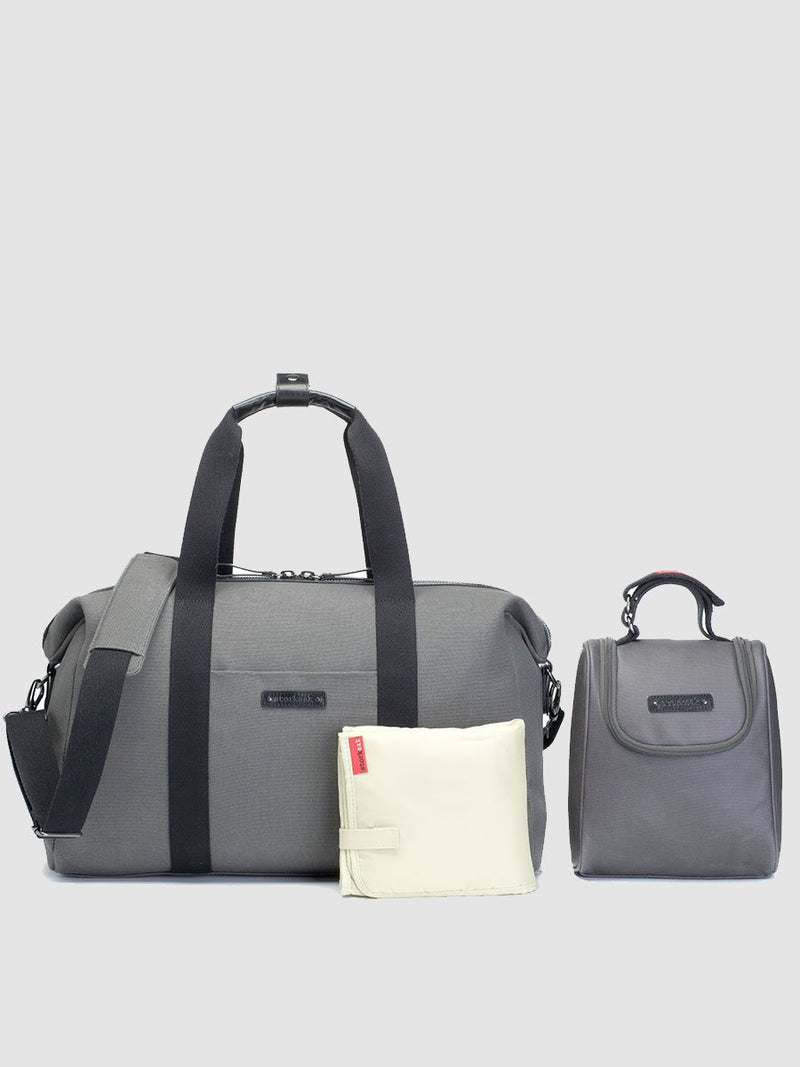 storksak bailey charcoal, hosptial & weekend bag, comes with insulated bottle bag and changing mat