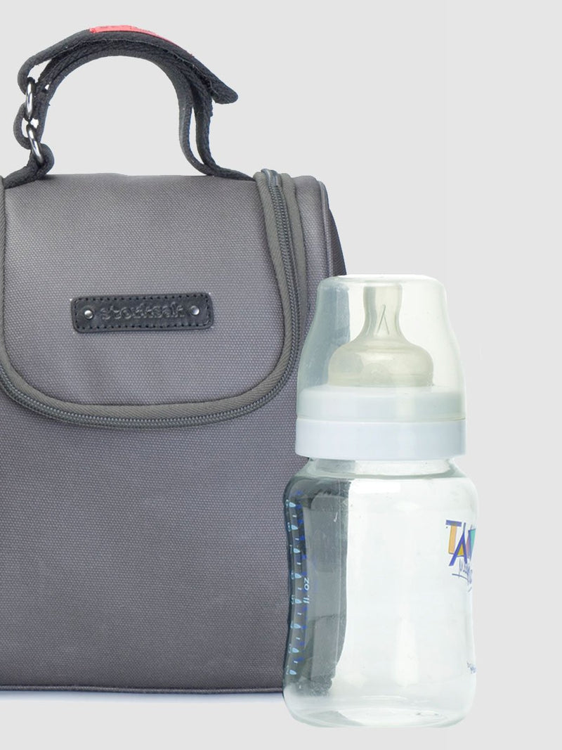 storksak bailey charcoal, hosptial & weekend bag, matching insulated bottle holder
