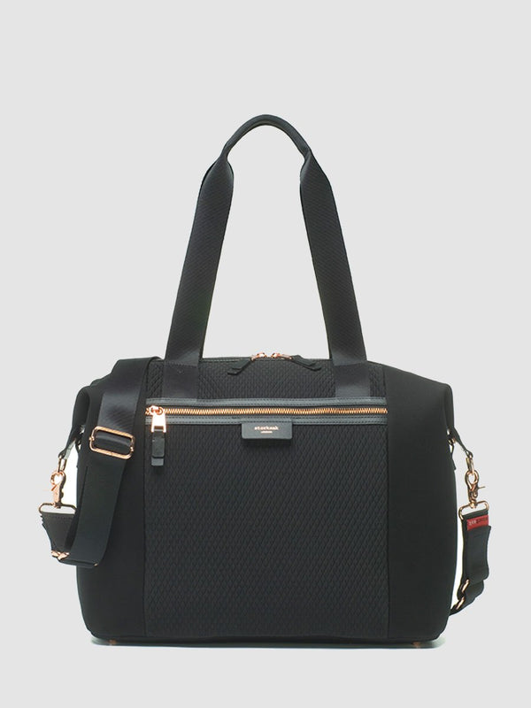 storksak stevie luxe scuba black, changing bag, front view