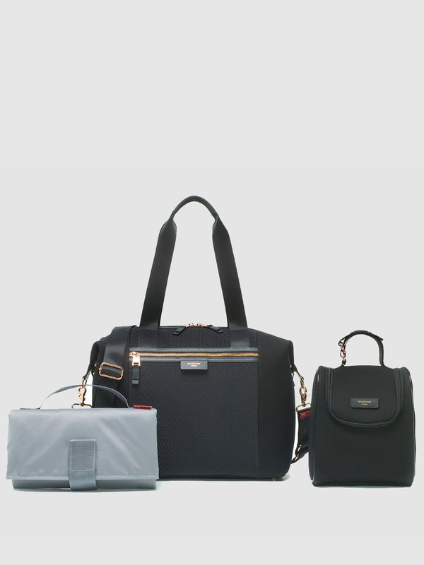 storksak stevie luxe scuba black, comes with changing mat, stroller straps & insulated bottle holder
