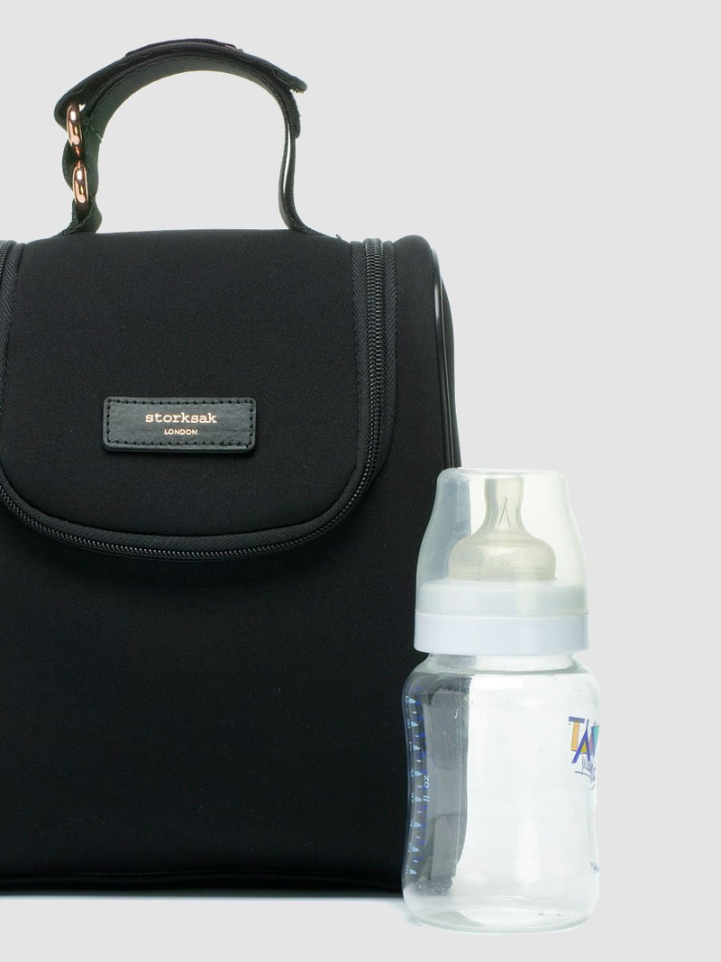 storksak stevie luxe scuba black, changing bag, matching insulated bottle bag