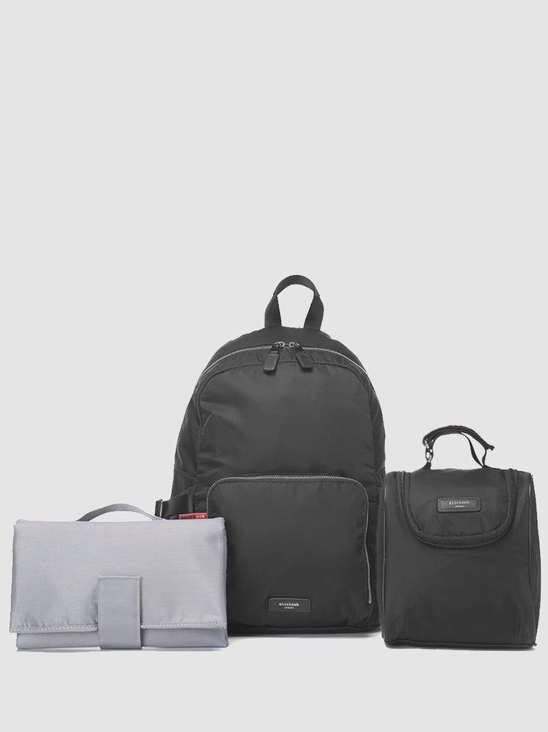 Storksak Hero Black backpack changing bag, with leather details, comes with changing mat and insulated bottle holder