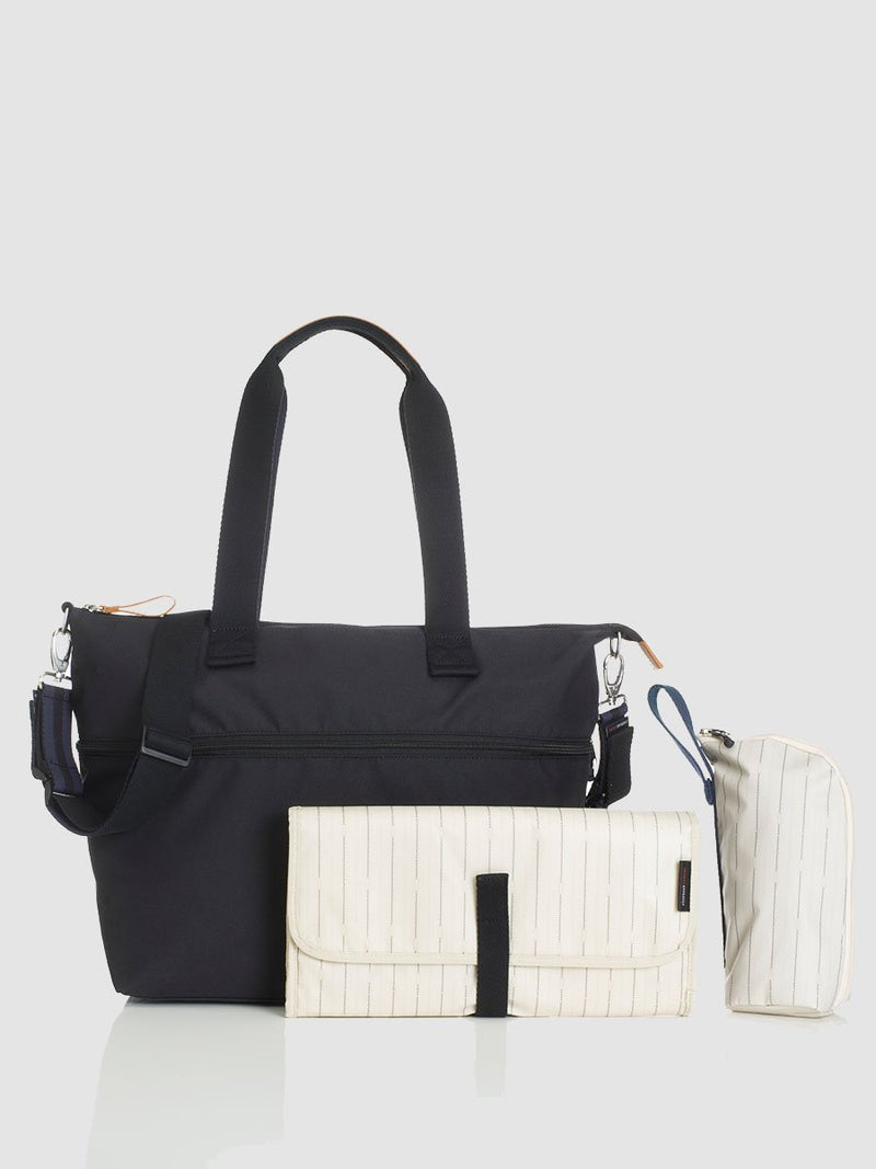 storksak travel expandable tote black, changing bag, comes with changing mat, stroller straps & insulated bottle holder