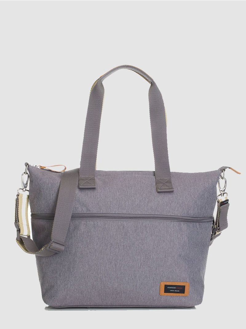 storksak travel expandable tote grey, changing bag, front view
