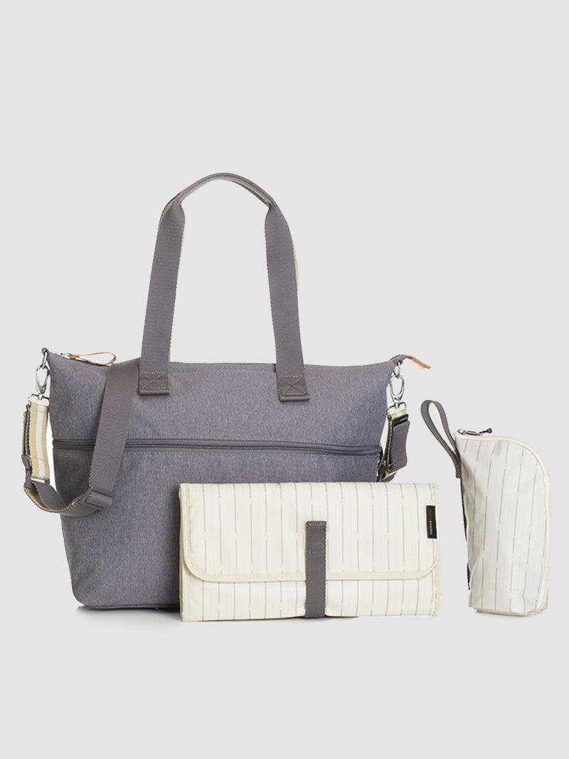 storksak travel expandable tote grey, changing bag, comes with changing mat, stroller straps & insulated bottle holder