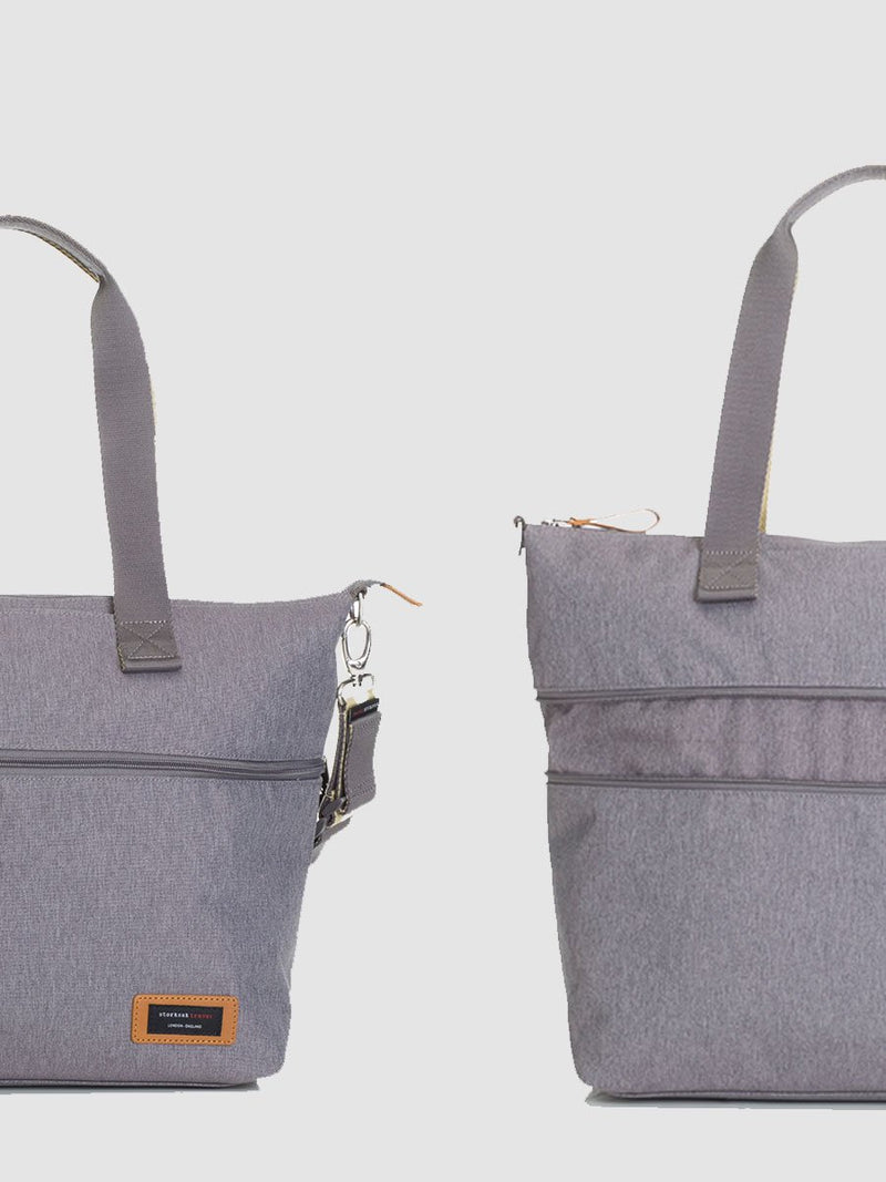 storksak travel expandable tote grey, changing bag, showing how the bag extends