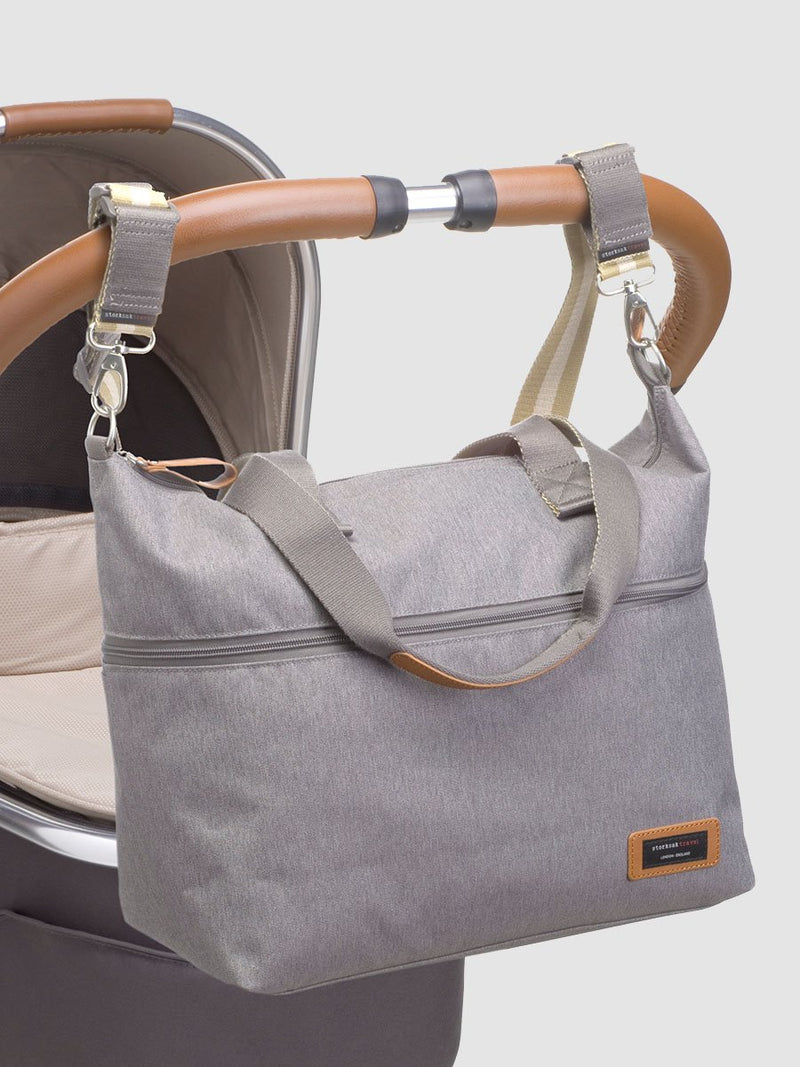 storksak travel expandable tote grey, changing bag, attached to pram with stroller straps