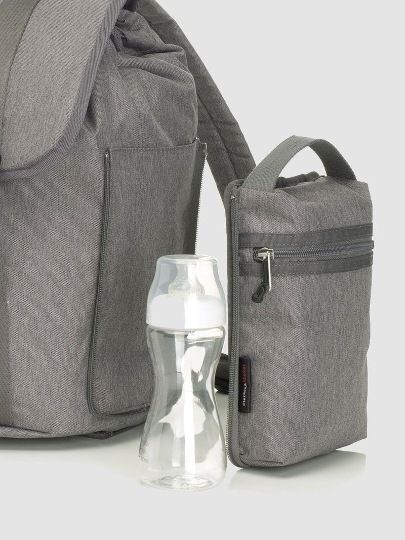 storksak travel backpack grey, rucksack changing bag, side view of zip off insulated pocket