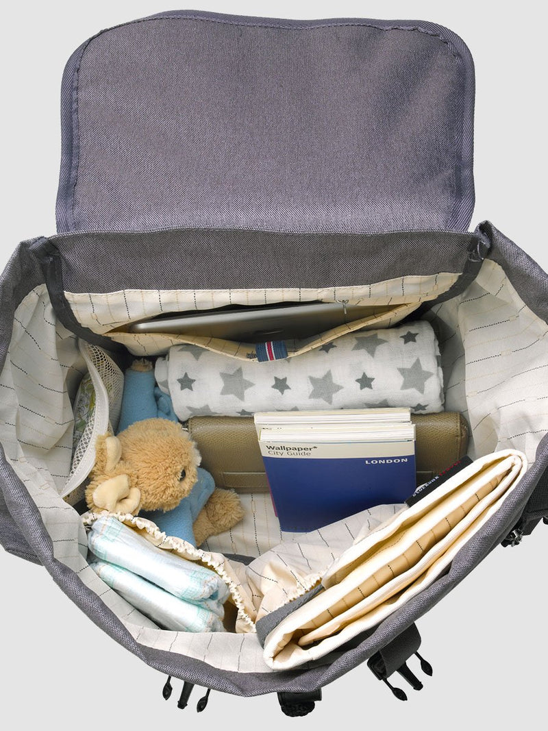 storksak travel backpack grey, rucksack changing bag, inside bag packed with baby items