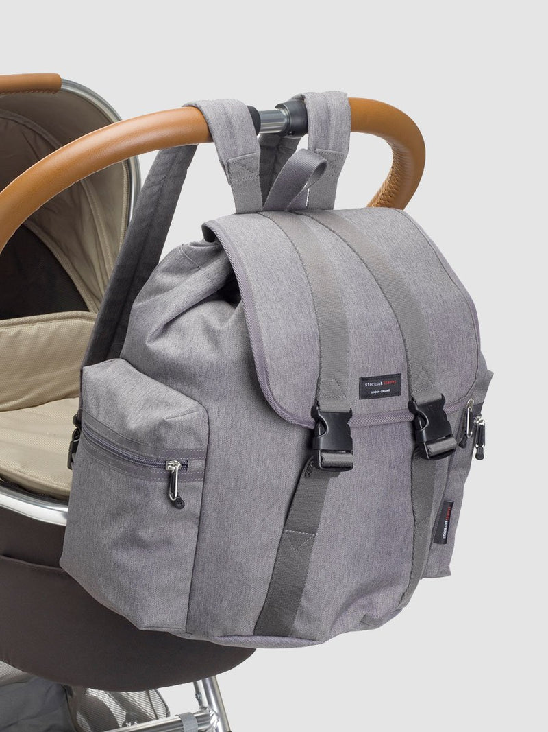 storksak travel backpack grey, rucksack changing bag, attached to pram with clips