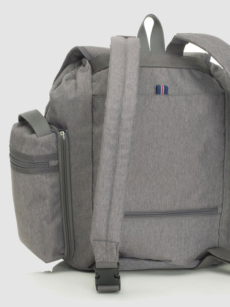 storksak travel backpack grey, rucksack changing bag, back view of padded shoulder straps