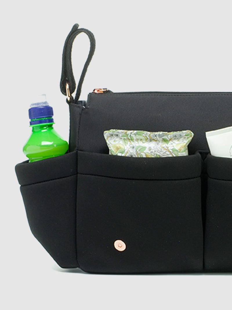 storksak stroller organiser luxe scuba black, flap up showing external pockets