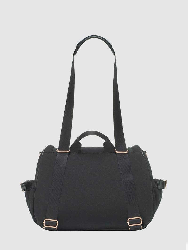 storksak poppy luxe scuba black, convertible changing bag, back view showing straps as shoulder bag