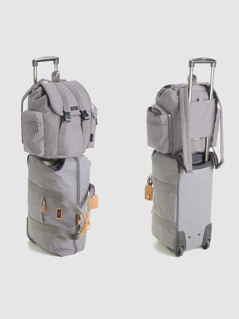 storksak travel cabin carry-on grey, hospital bag, with backpack on top